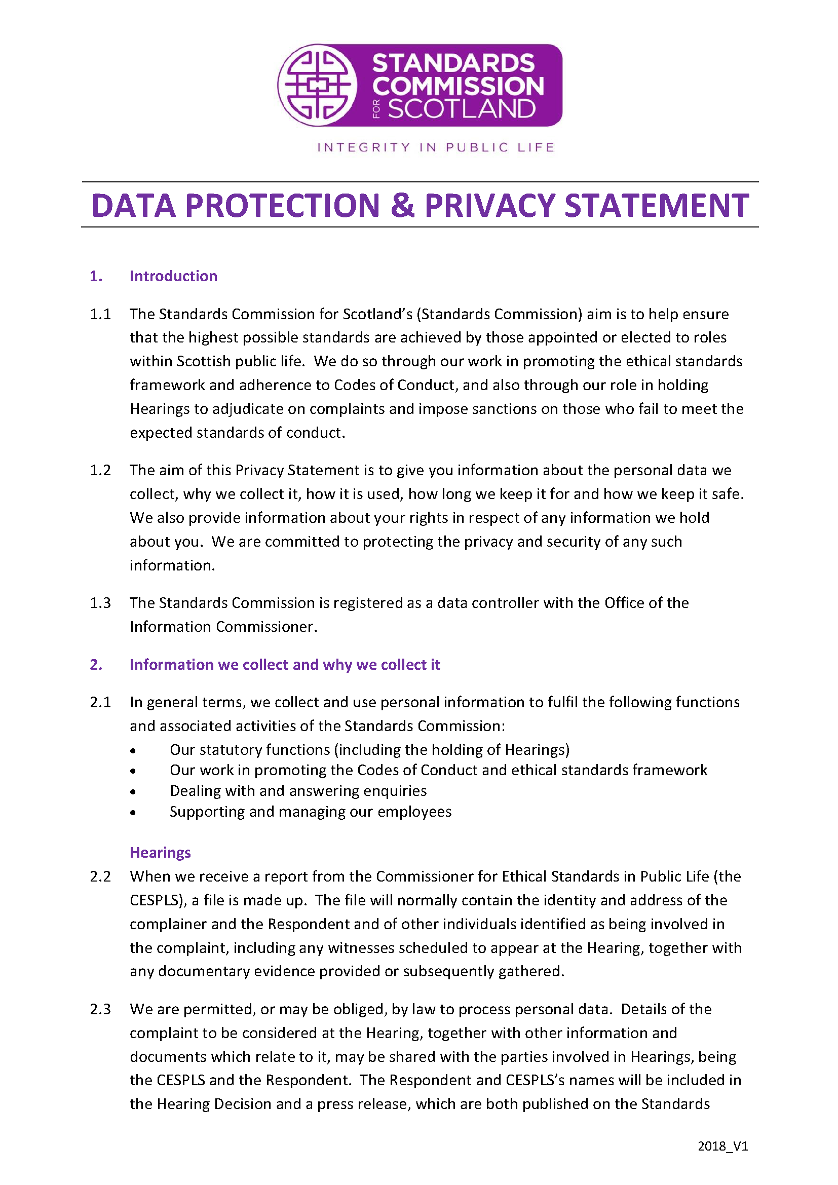 Data Protection Privacy Statement