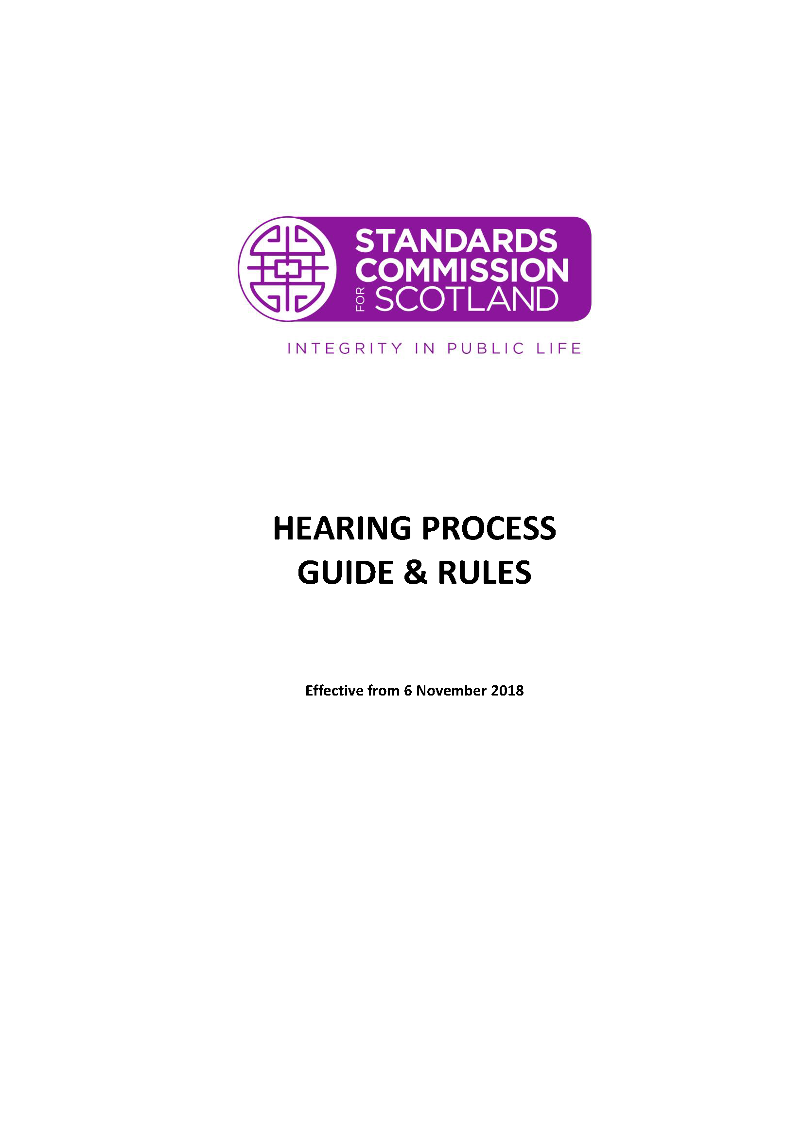 Hearing Process Guide and Rules 2018