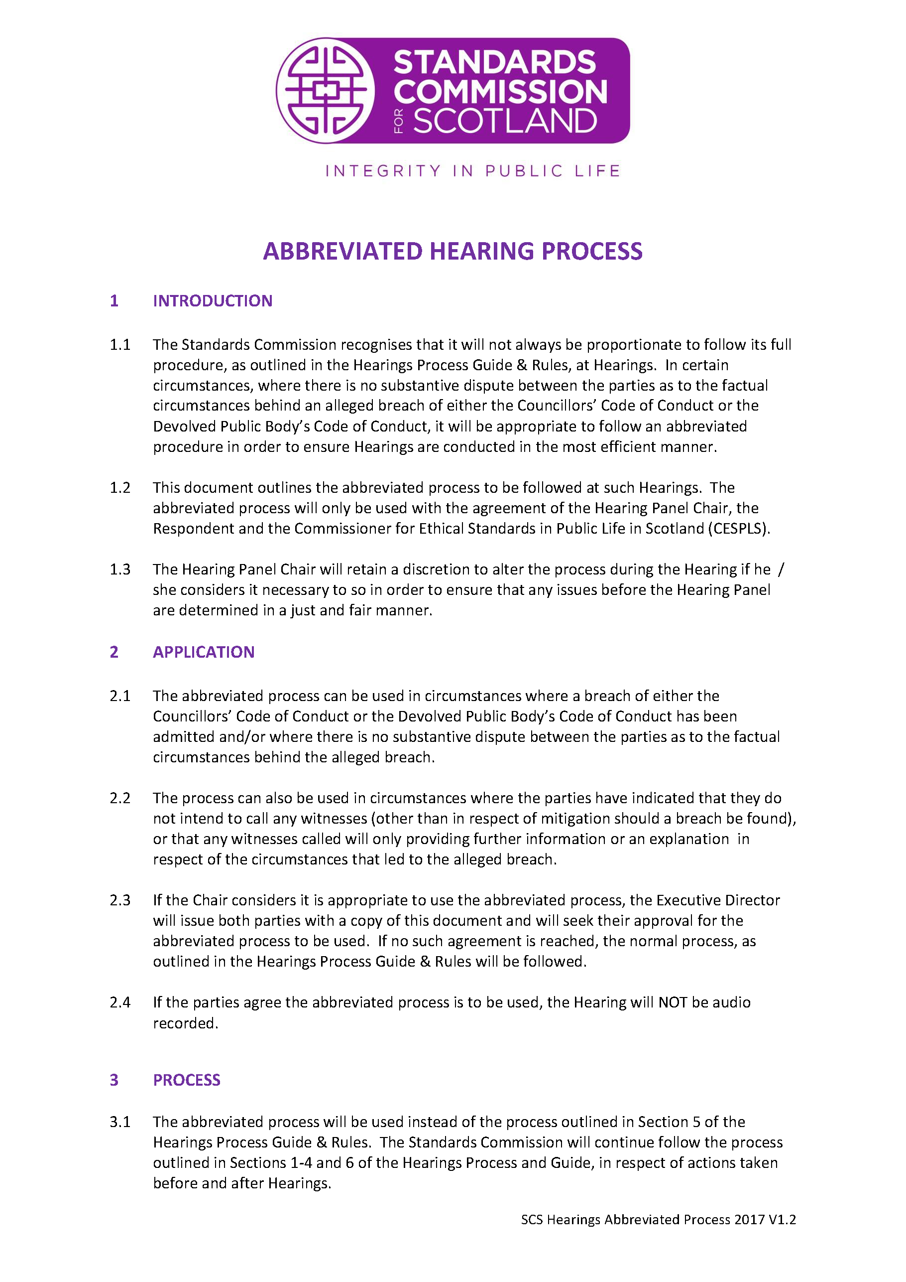 Abbreviated Hearing Process