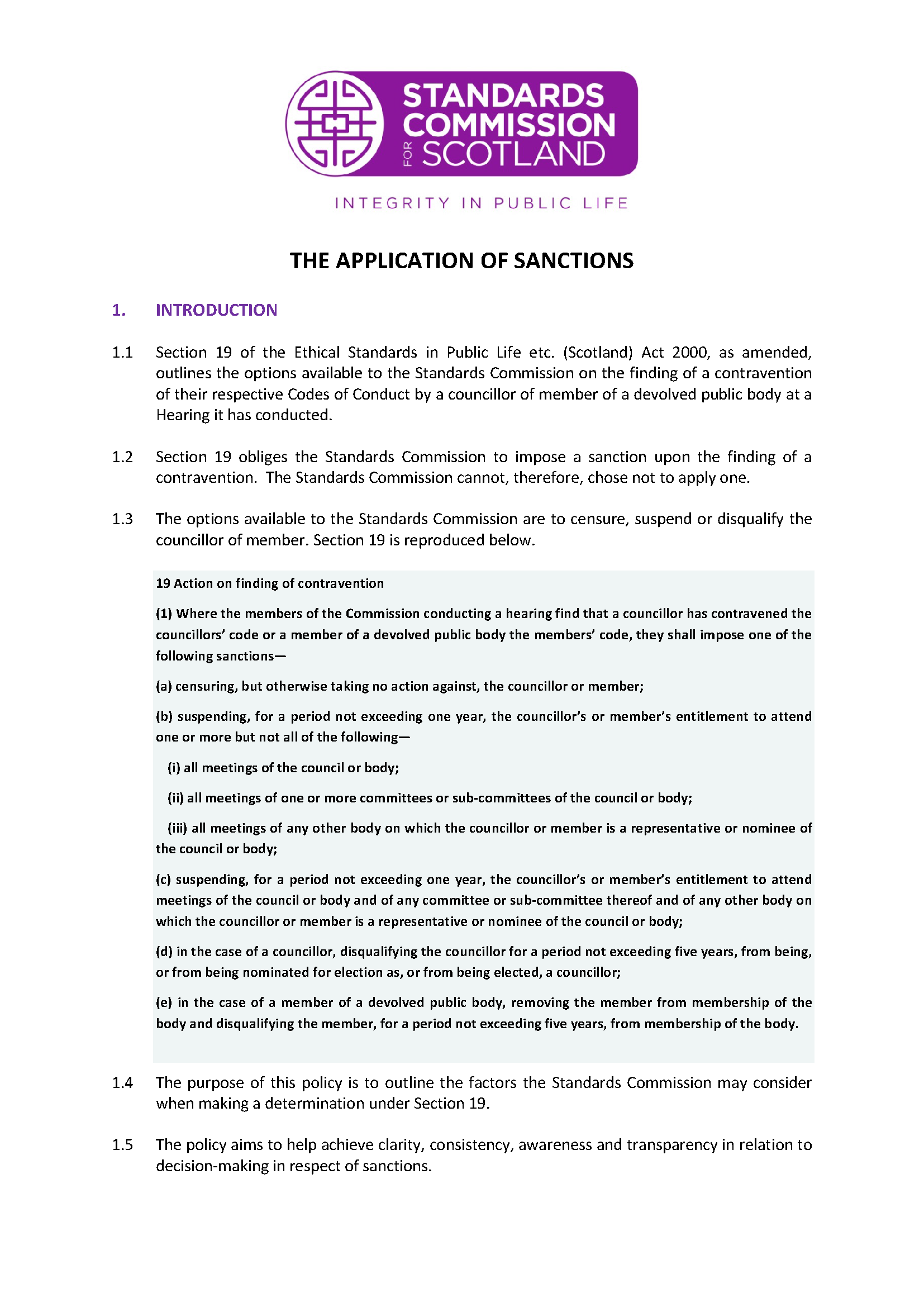 Policy on the Application of Sanctions