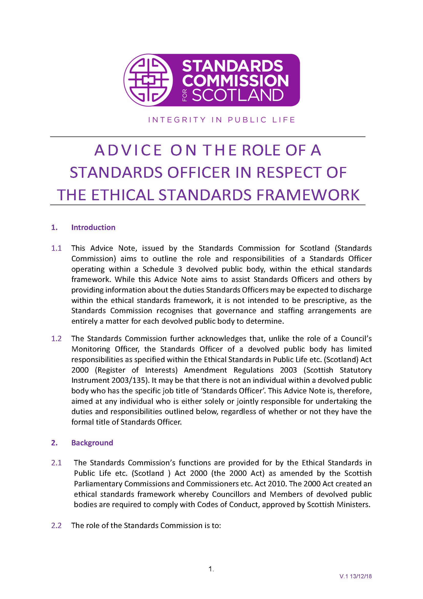 Advice on the Role of Standards Officer