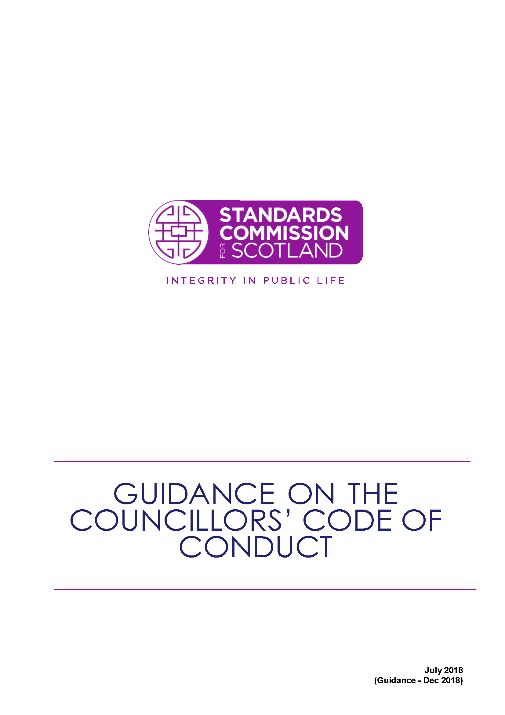 Guidance on the Councillors' Code of Conduct 2018