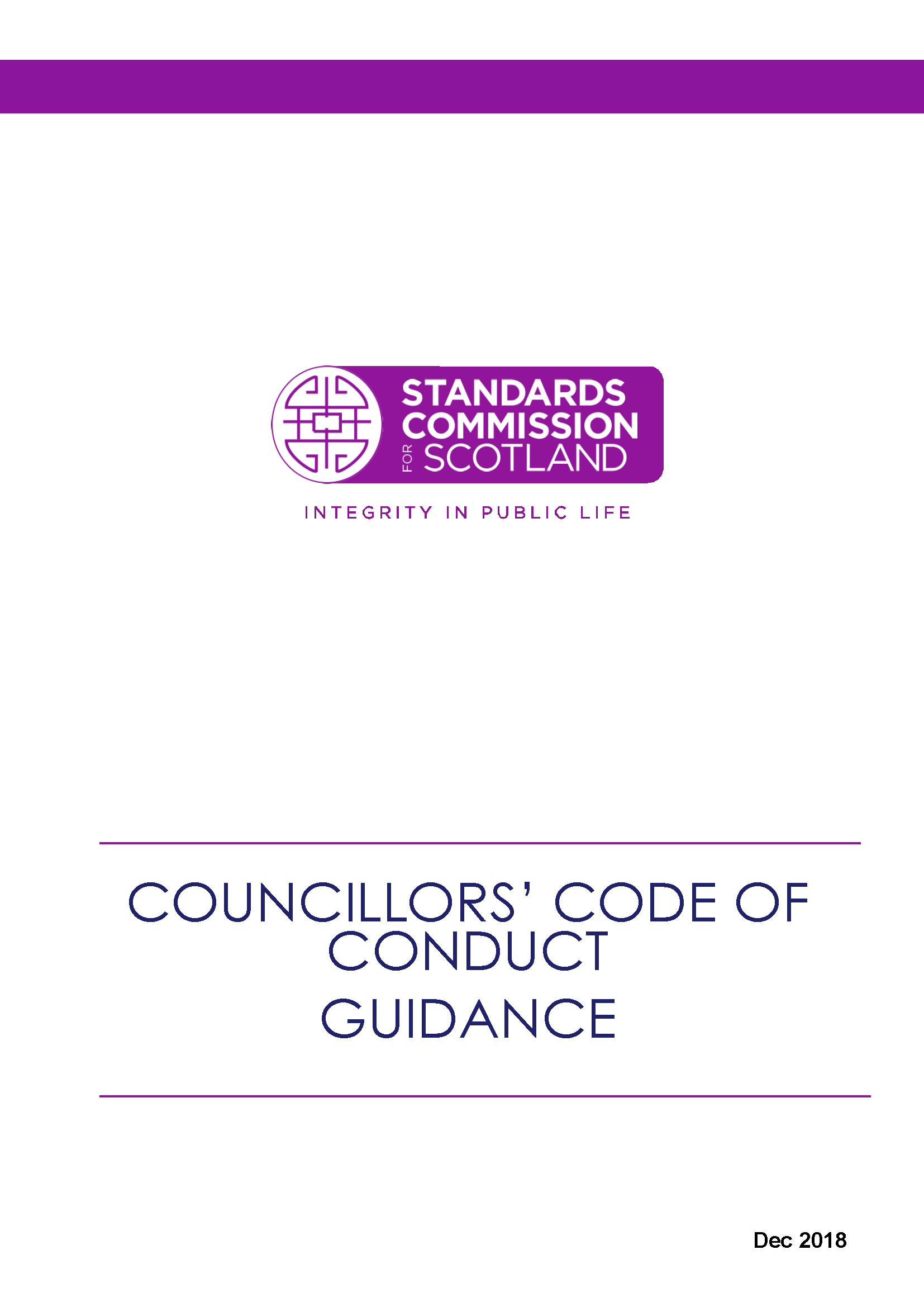 Councillors' Code of Conduct - Guidance only 2018