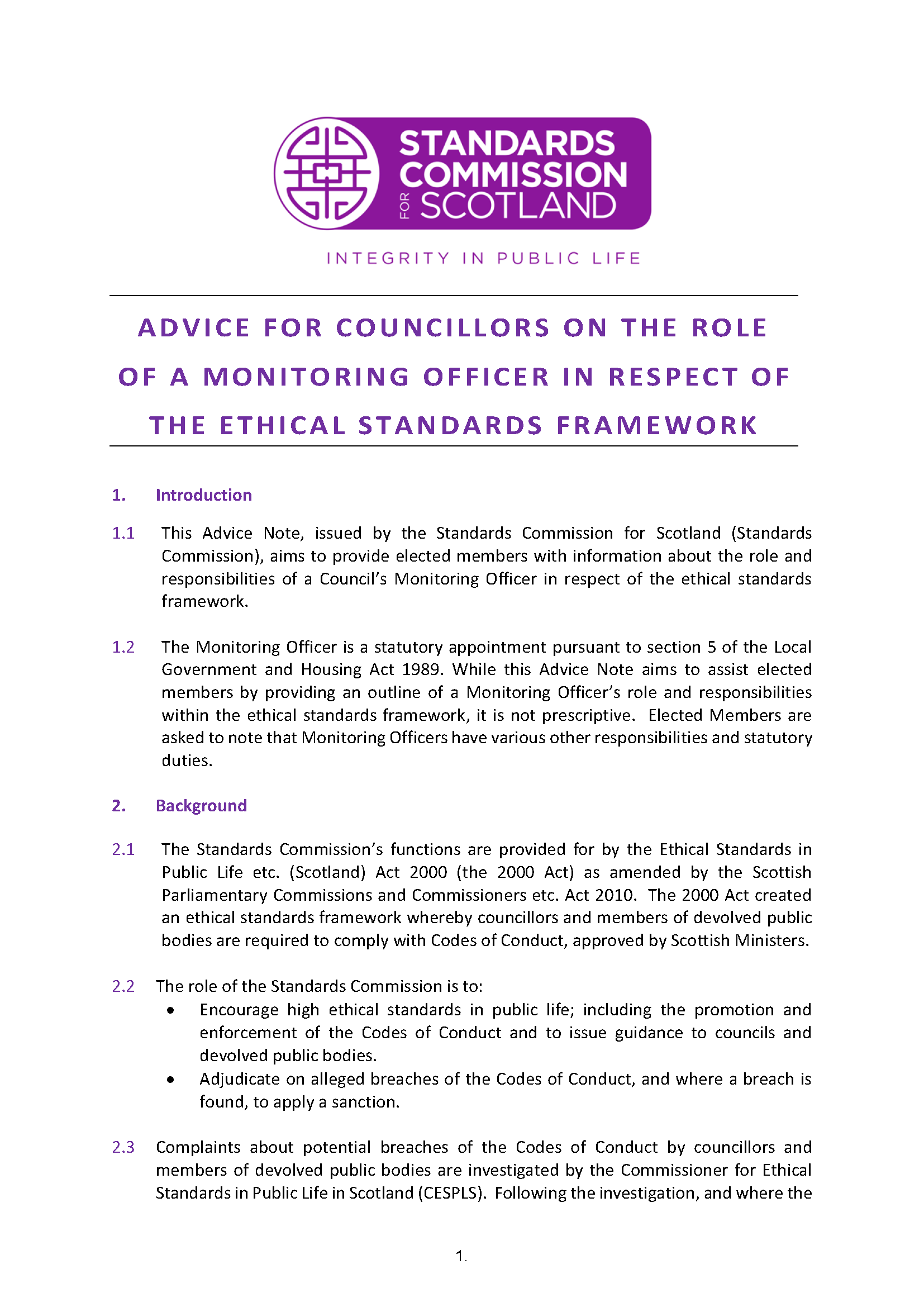Advice Note for Councillors on the Role of the Monitoring Officer