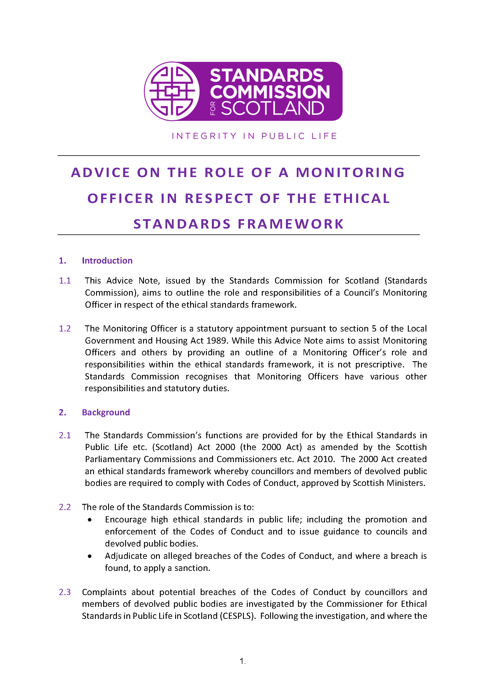 Advice Note on the role of a Monitoring Officer