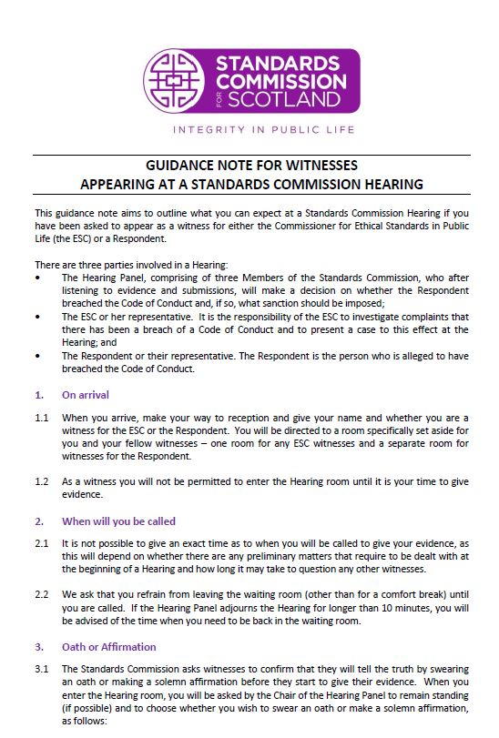 Guidance Note for Witnesses