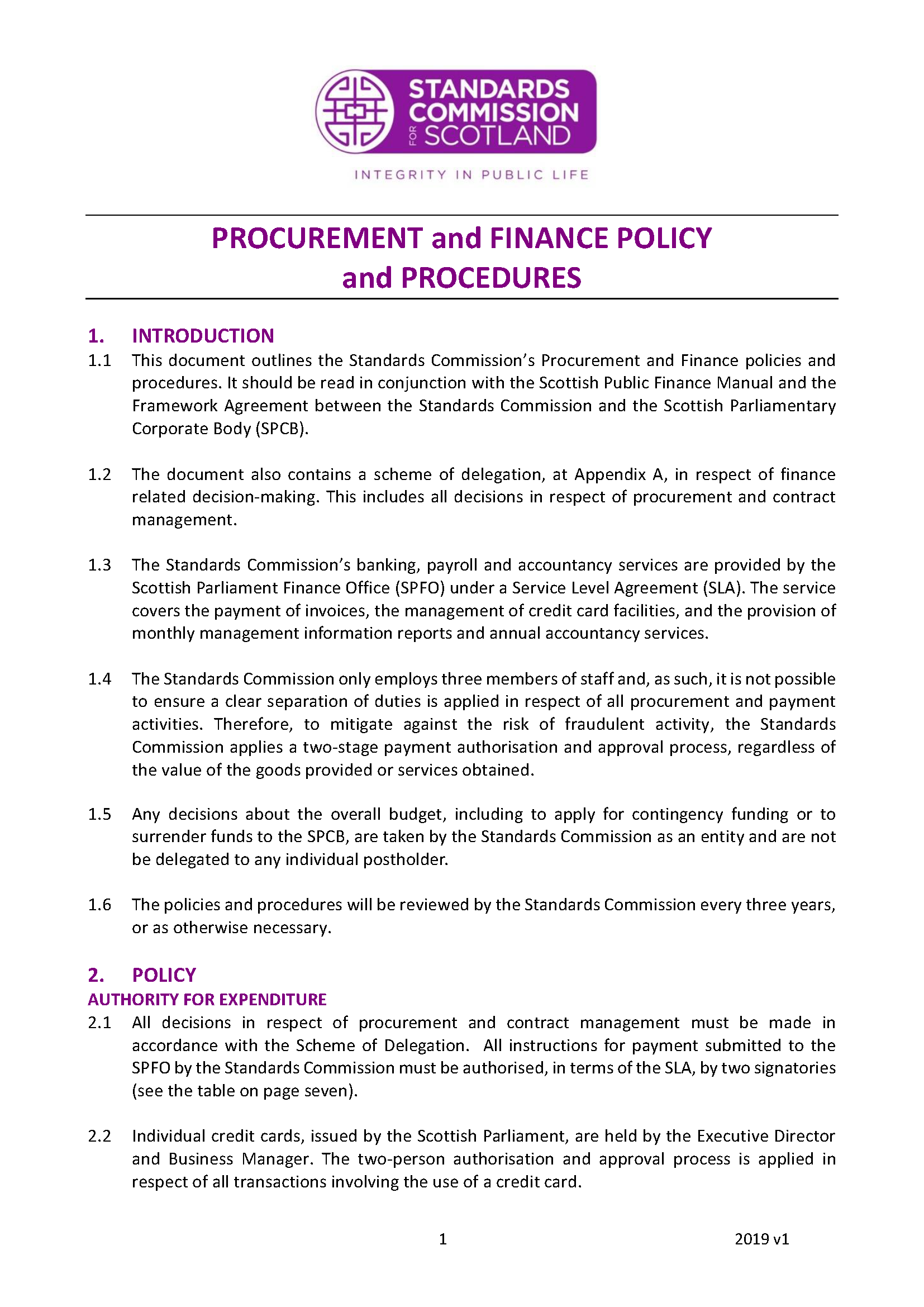 Procurement and Finance Policy and Procedures